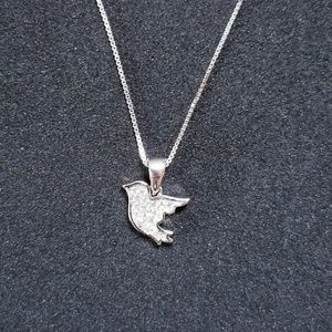 925 Flying Bird CZ Stones Pendant Free Chain